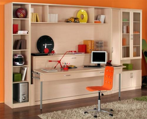 Детская кровать с открытым столом и шкафом