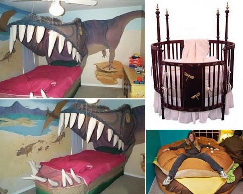 Необычные виды детских кроватей: динозавр с бутербродом