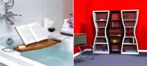 Полка в ванной и набор креативных стеллажей