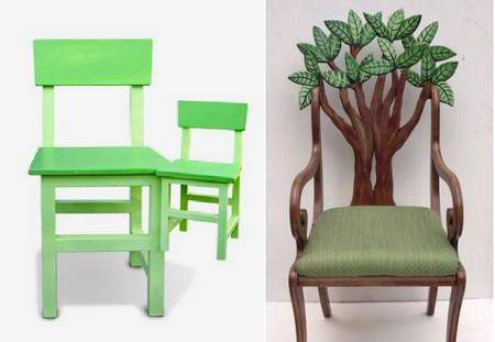 Зеленые дизайны деревянных стульев