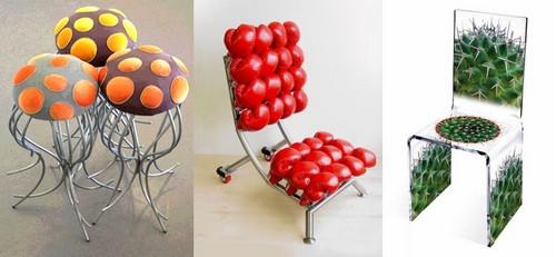 Ягодно-грибной дизайн стульев